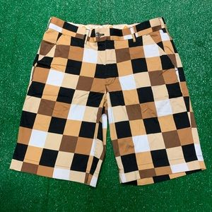 Loudmouth Checkered Color Block Golf Casual Shorts